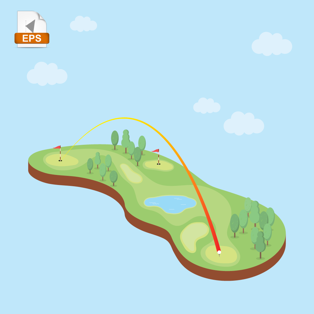 Golf course game competition field 3D Isometric Free Vector