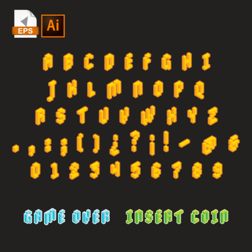Alphabet letters in isometric style on black background.
