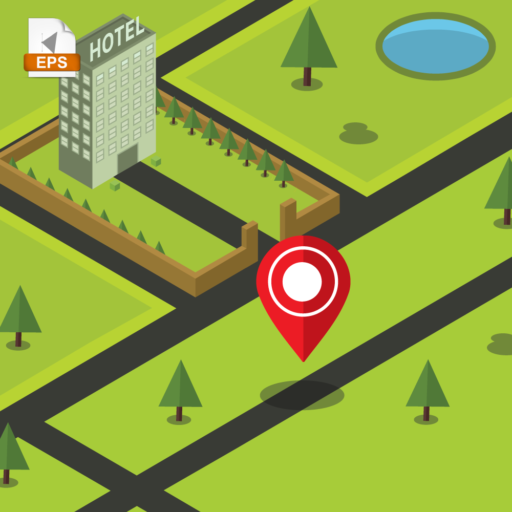 Isometric representation of a real time pin of your location