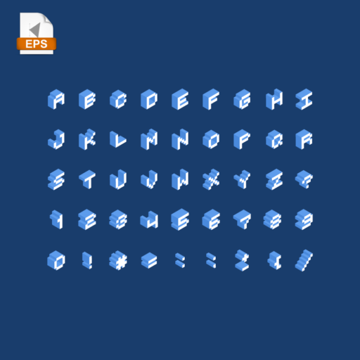 Pixelated alphabet of isometric letters on a blue background