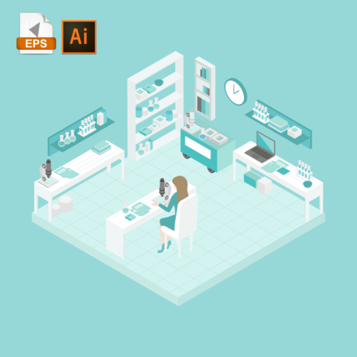 Woman researching in a laboratory room in isometric view