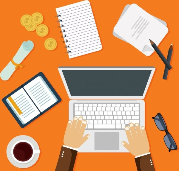Background office desk accountant graduate student Flat Free