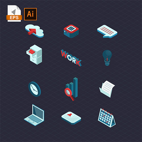 Business isometric icons